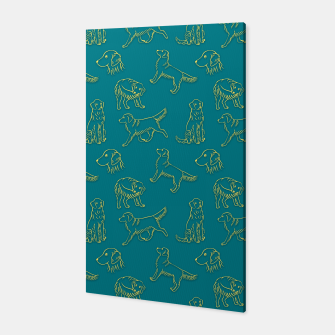 Miniatur Golden Retriever Pattern (Teal Background) Canvas, Live Heroes