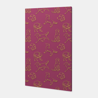 Miniatur Golden Retriever Pattern (Berry Background) Canvas, Live Heroes