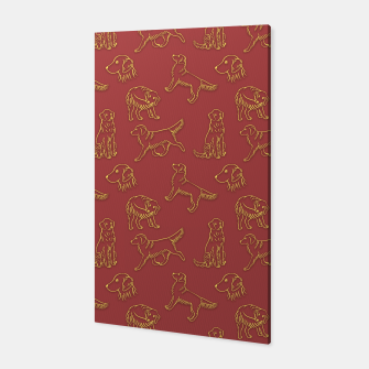 Miniatur Golden Retriever Pattern (Terracotta Red Background) Canvas, Live Heroes