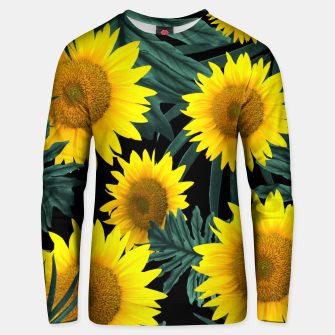 Thumbnail image of Tropical Sunflower Jungle Night Leaves Pattern #1 #tropical #decor #art Unisex sweatshirt, Live Heroes