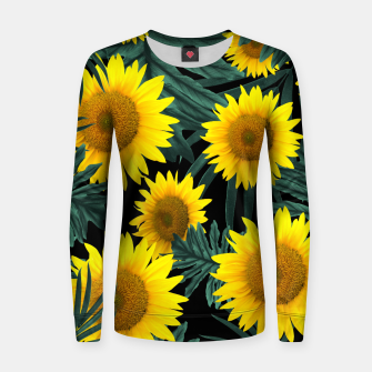 Thumbnail image of Tropical Sunflower Jungle Night Leaves Pattern #1 #tropical #decor #art Frauen sweatshirt, Live Heroes