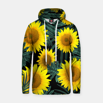 Thumbnail image of Tropical Sunflower Jungle Night Leaves Pattern #1 #tropical #decor #art Kapuzenpullover, Live Heroes