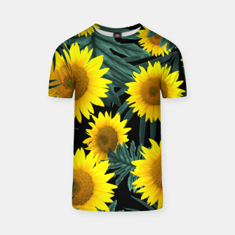 Thumbnail image of Tropical Sunflower Jungle Night Leaves Pattern #1 #tropical #decor #art T-Shirt, Live Heroes