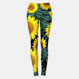 Thumbnail image of Tropical Sunflower Jungle Night Leaves Pattern #1 #tropical #decor #art Leggings, Live Heroes