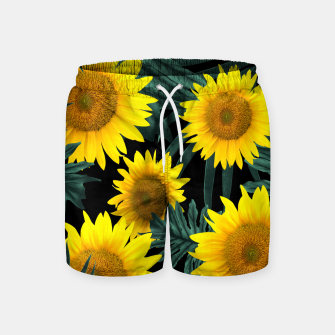 Thumbnail image of Tropical Sunflower Jungle Night Leaves Pattern #1 #tropical #decor #art Badeshorts, Live Heroes