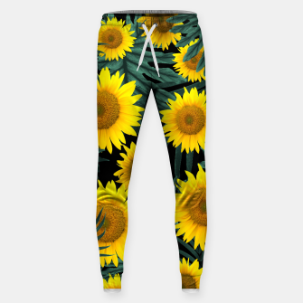 Thumbnail image of Tropical Sunflower Jungle Night Leaves Pattern #1 #tropical #decor #art Hosen, Live Heroes