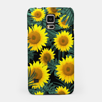 Thumbnail image of Tropical Sunflower Jungle Night Leaves Pattern #1 #tropical #decor #art Handyhülle für Samsung, Live Heroes