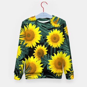 Thumbnail image of Tropical Sunflower Jungle Night Leaves Pattern #1 #tropical #decor #art Kindersweatshirt, Live Heroes