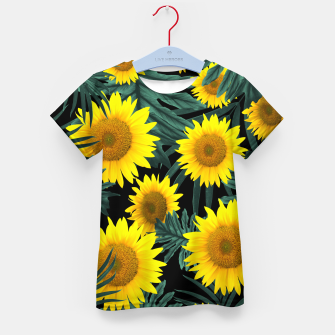 Thumbnail image of Tropical Sunflower Jungle Night Leaves Pattern #1 #tropical #decor #art T-Shirt für kinder, Live Heroes