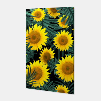 Thumbnail image of Tropical Sunflower Jungle Night Leaves Pattern #1 #tropical #decor #art Canvas, Live Heroes
