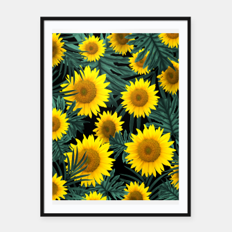 Thumbnail image of Tropical Sunflower Jungle Night Leaves Pattern #1 #tropical #decor #art Plakat mit rahmen, Live Heroes