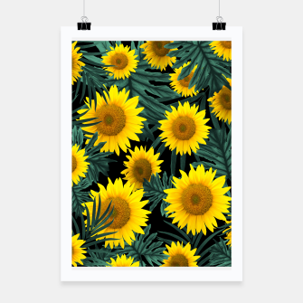 Thumbnail image of Tropical Sunflower Jungle Night Leaves Pattern #1 #tropical #decor #art Plakat, Live Heroes