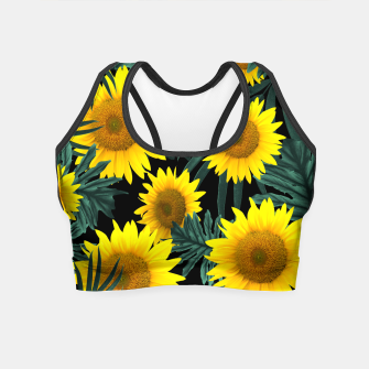 Thumbnail image of Tropical Sunflower Jungle Night Leaves Pattern #1 #tropical #decor #art Crop Top, Live Heroes