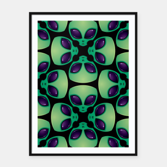 Thumbnail image of Alien Head Pattern Framed poster, Live Heroes