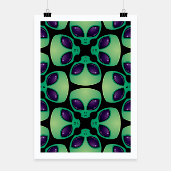 Thumbnail image of Alien Head Pattern Poster, Live Heroes
