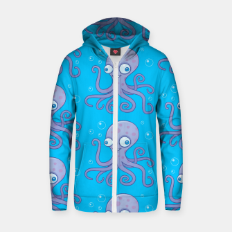 Thumbnail image of Silly Octopus Cartoon Pattern Zip up hoodie, Live Heroes