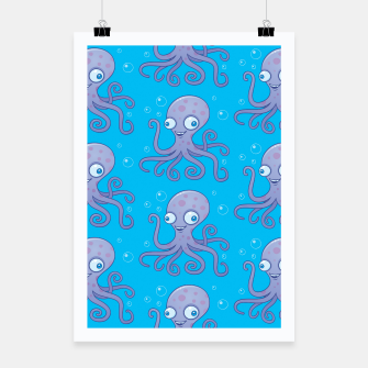 Thumbnail image of Silly Octopus Cartoon Pattern Poster, Live Heroes