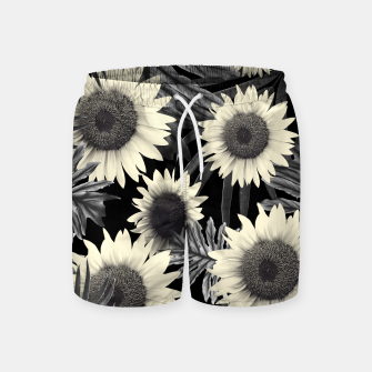 Thumbnail image of Tropical Sunflower Jungle Night Leaves Pattern #2 #tropical #decor #art  Badeshorts, Live Heroes