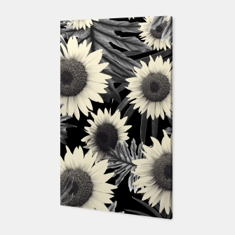 Thumbnail image of Tropical Sunflower Jungle Night Leaves Pattern #2 #tropical #decor #art  Canvas, Live Heroes