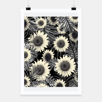 Thumbnail image of Tropical Sunflower Jungle Night Leaves Pattern #2 #tropical #decor #art  Plakat, Live Heroes