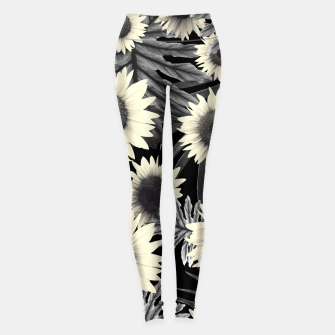 Thumbnail image of Tropical Sunflower Jungle Night Leaves Pattern #2 #tropical #decor #art  Leggings, Live Heroes