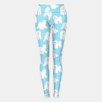 Thumbnail image of Bichon Frise Pattern (Blue Background) Leggings, Live Heroes