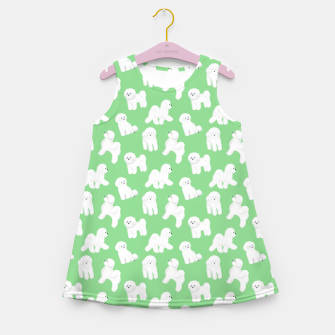 Thumbnail image of Bichon Frise Pattern (Green Background) Girl's summer dress, Live Heroes