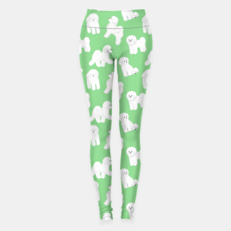 Thumbnail image of Bichon Frise Pattern (Green Background) Leggings, Live Heroes