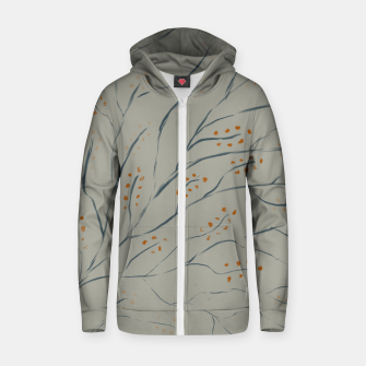 Thumbnail image of Branches on plan grey green Zip up hoodie, Live Heroes