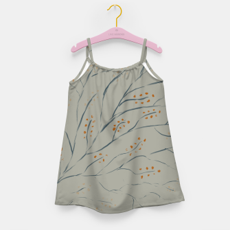 Thumbnail image of Branches on plan grey green Girl's dress, Live Heroes