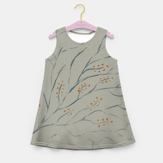 Thumbnail image of Branches on plan grey green Girl's summer dress, Live Heroes