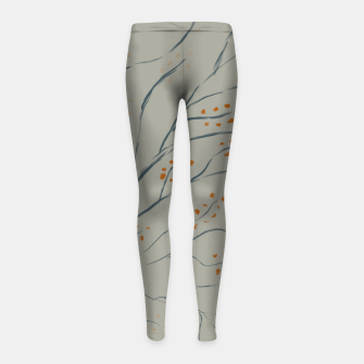 Thumbnail image of Branches on plan grey green Girl's leggings, Live Heroes