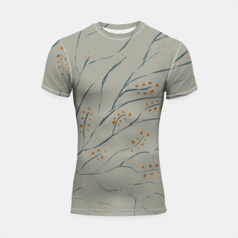 Thumbnail image of Branches on plan grey green Shortsleeve rashguard, Live Heroes