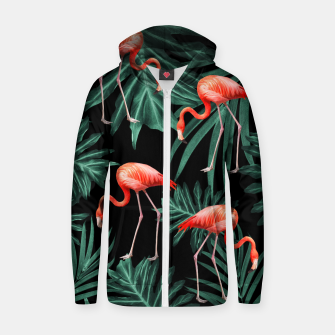 Thumbnail image of Summer Flamingo Jungle Night Vibes #2 #tropical #decor #art Reißverschluss kapuzenpullover, Live Heroes