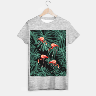 Thumbnail image of Summer Flamingo Jungle Night Vibes #2 #tropical #decor #art T-Shirt regulär, Live Heroes
