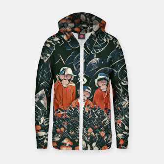 Thumbnail image of Three monkeys Zip up hoodie, Live Heroes