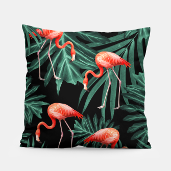 Thumbnail image of Summer Flamingo Jungle Night Vibes #2 #tropical #decor #art Kissen, Live Heroes