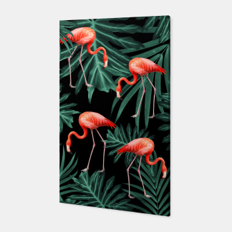 Thumbnail image of Summer Flamingo Jungle Night Vibes #2 #tropical #decor #art Canvas, Live Heroes