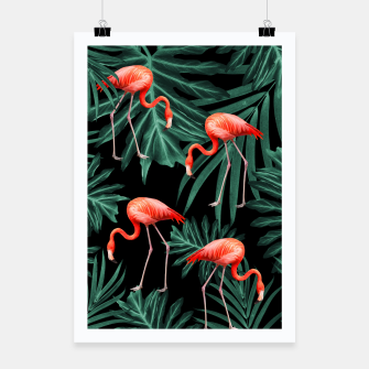 Thumbnail image of Summer Flamingo Jungle Night Vibes #2 #tropical #decor #art Plakat, Live Heroes