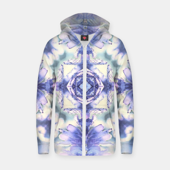 Miniatur Nature mandala ethereal blue and white Zip up hoodie, Live Heroes