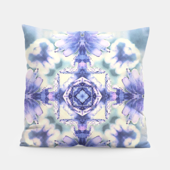 Miniatur Nature mandala ethereal blue and white Pillow, Live Heroes