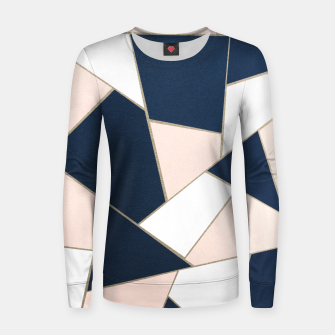 Thumbnail image of Navy Blue Blush White Gold Geometric Glam #1 #geo #decor #art Frauen sweatshirt, Live Heroes