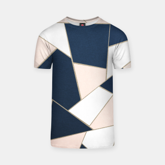 Thumbnail image of Navy Blue Blush White Gold Geometric Glam #1 #geo #decor #art T-Shirt, Live Heroes