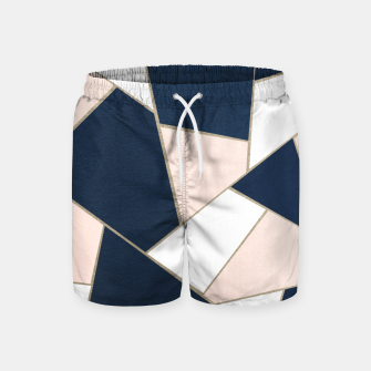 Thumbnail image of Navy Blue Blush White Gold Geometric Glam #1 #geo #decor #art Badeshorts, Live Heroes