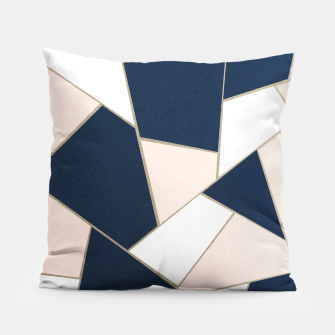Thumbnail image of Navy Blue Blush White Gold Geometric Glam #1 #geo #decor #art Kissen, Live Heroes