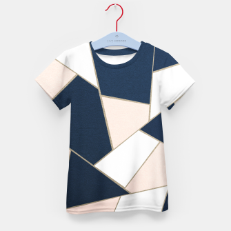 Thumbnail image of Navy Blue Blush White Gold Geometric Glam #1 #geo #decor #art T-Shirt für kinder, Live Heroes
