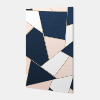 Thumbnail image of Navy Blue Blush White Gold Geometric Glam #1 #geo #decor #art Canvas, Live Heroes