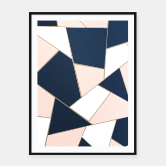Thumbnail image of Navy Blue Blush White Gold Geometric Glam #1 #geo #decor #art Plakat mit rahmen, Live Heroes