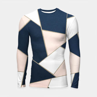 Thumbnail image of Navy Blue Blush White Gold Geometric Glam #1 #geo #decor #art Longsleeve rashguard, Live Heroes