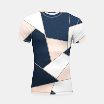 Thumbnail image of Navy Blue Blush White Gold Geometric Glam #1 #geo #decor #art Shortsleeve rashguard, Live Heroes